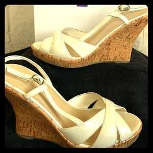 Baker's  Andies White Patent Leather Wedges
